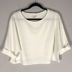 Caution to the Wind crop knit top short slv white